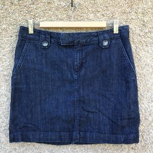 Banana Republic Jean Skirt Mini Blue Buttons 8
